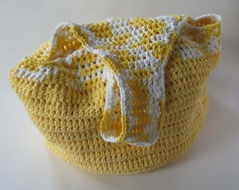 Bright Yellow Hobo Bag, Crochet Hobo Bag, Short Strap, Hobo Bag Tote, Beach Bag, Crochet Purse, Hobo Style Bag, Cotton Tote, Ready To Ship