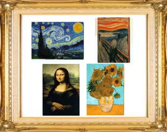 Art Stickers,Starry Night,Mona Lisa,ACEO or Planner stickers,Decal,Laptop Sticker,Laptop Decal, Art Stickers, Gift for Women, Gift for Men