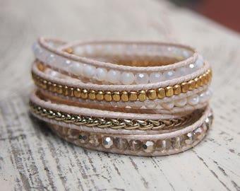 5 times Wrap Bracelet, White pearl mix, Boho bracelet, Beadwork bracelet