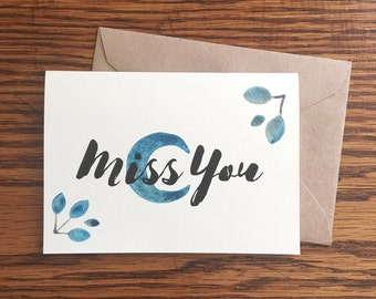 I Miss You Card, I Miss You Gift, Long Distance Card, Long Distance Relationship Gift, Blank Greeting Card, Red Fern Studio