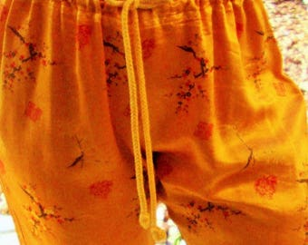 SILKY DRAWSTRING Pants Womens Medium Orange New With Tags M Lounge Wear Marigold Vintage Asian Floral Print Cherry Blossom Rayon Lingerie