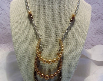 Wilcie Collection Multi-Tiered Beige Faux Pearl Necklace