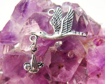 Stork Carrying Baby Tibetan Silver Charms