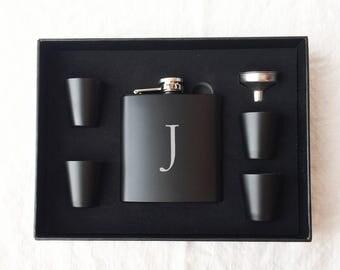 Personalized Flask Set - Groomsmen Gift - Boxed Flask Set - Monogram Flask Set - Best Man Gift - Wedding Gift - Bachelor Gift - Black Flask