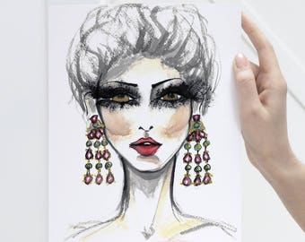Lash Decor Fashion Art, Fashion illustration print art prints watercolor, Beauty salon decor, Fashion Print, Fashion sketch