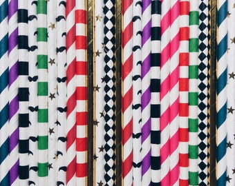 Circus party Paper Straws, circus themed party, paper party straws, Vintage circus party, birthday, party, baby shower, wedding, straws, 25