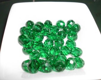 10 Pc Faceted Crystal Beads Green 10mm Loose Unused