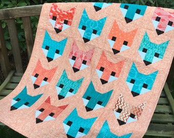Handmade Fox Baby Quilt / Childs Blanket with Modern Design Ready to ship