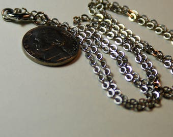Antique Silvertone 2mm Chain Lobster Clasp