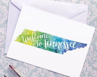 Tennessee Watercolor Map Greeting Card, Welcome to Tennessee Hand Lettered Text, Gift or Postcard, Giclée Print, Map Art, Choice of 5 Colors