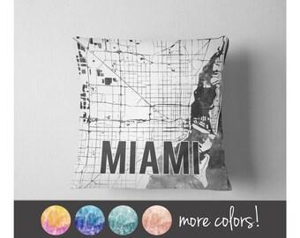Watercolor Miami map throw pillow