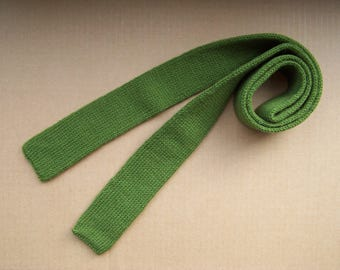 knitted skinny solid moss green color street fashion necktie a cool gift for a cool season winter wedding