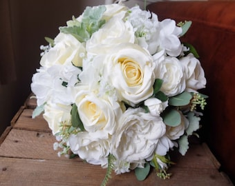 natural ivory and white silk wedding bouquet made with artificial roses hydrangea garden