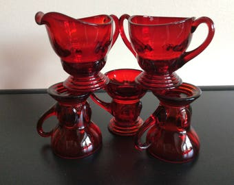 New Martinsville MOONDROPS Ruby Mini Creamer / Sugar with set of 3 Whiskey 2 oz glasses 1932-40 Vintage