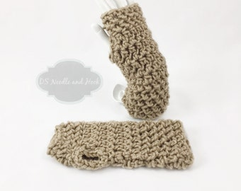 Taupe Crochet Hand Warmers, Brown Fingerless Gloves, Beige Gauntlets, Tan Wristlets, Light Brown Wrist Warmers