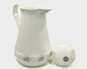 Insulated Thermos Carafe Christa No 430 White Pink Flowers Decorative Kitchen Accessory