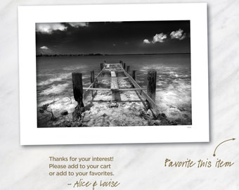Wells Key dock, Saddlebunch Keys, Florida. Signed 12x18 Black & White Fine Art Photo Matted to 18x24