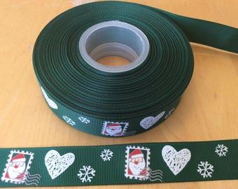 Santa grosgrain ribbons, st nick ribbons, Christmas ribbons, winter ribbons, 7/8 inch Grosgrai ribbons