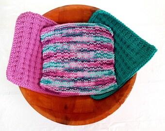 Knit dishcloth set of 3, dish cloths, knit washcloth, cotton washcloths, knitted dishcloths, dish towels, face cloth, baby washcloths