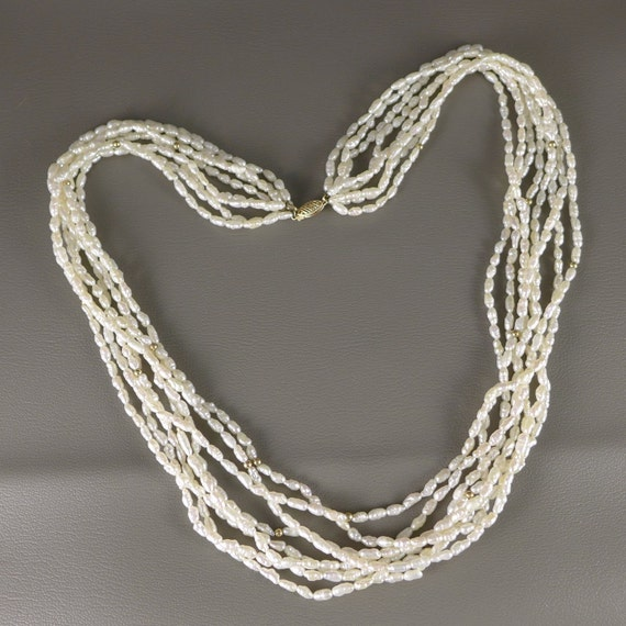 Rice Pearl Necklace Vintage 14k Gold 8 Strand Rice Pearl