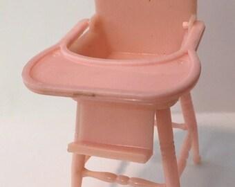 Renwal Pink Highchair vintage miniature Dollhouse Furniture 1:16 plastic