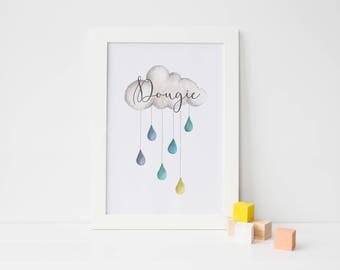Watercolour Raincloud (Personalised Name) - Nursery Print - Children's Wall Art - Baby Nursery Decor - Blue - Green - Yellow