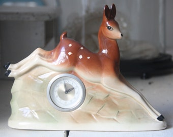 Rare Vintage Deer Shaped Ceramic Mantle Clock, Working, Jema Holland