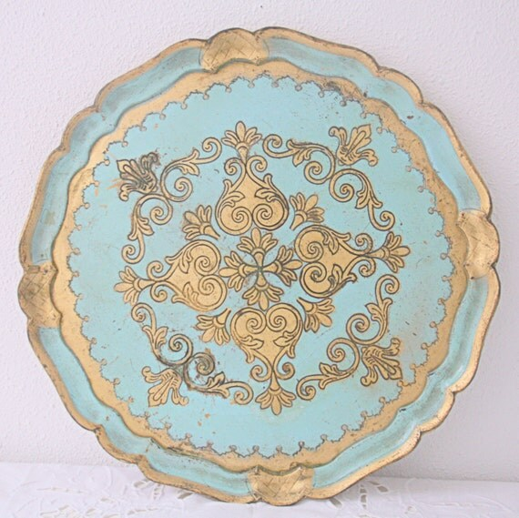 Vintage Italian Florentine Wooden Serving Tray, Aqua Blue with Gold Decor