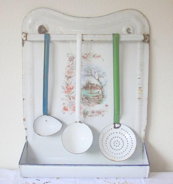 Vintage Large Enamel Utensils Rack with Utensils, Enamel Kitchen Rack with Spoons