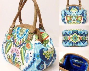 Retro style Carpetbag - Gorgeous Amy Butler Cameo fabrics - Harriets kitchen in sugar and portuguese cork