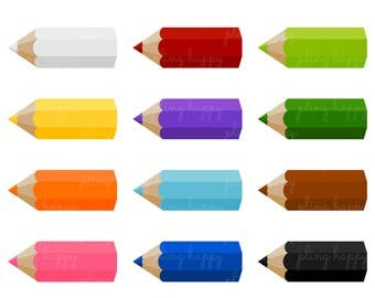 70% OFF Color Pencil Cliparts, Color Pencil Clipart Graphics, Personal & Small Commercial Use, Instant Download