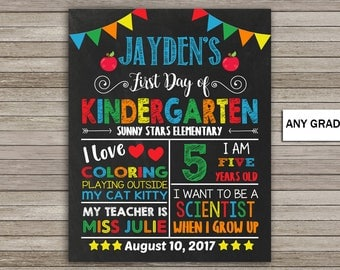 First Day of Kindergarten Chalkboard, School Sign, Back to School, First Day of School Chalkboard Printable, First Day of Kindergarten Sign