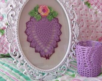 Hand Crocheted Framed Doily & Tea Light or Votive Candle Holder