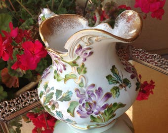 D F HAYNES Ware Pitcher D F Haynes Ware Baltimore Earthenware Pitcher D F Haynes Pottery Hand-Painted Haynes Ware Pitcher Amazing Condition!