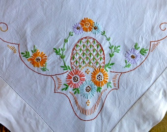 Vintage Linen Tablecloth Hand Embroidered with Baskets of Flowers 133cm Sq