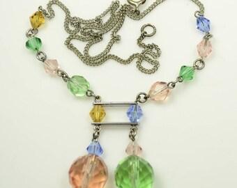 1920s-30s Signed Czech Pastel Crystal Necklace