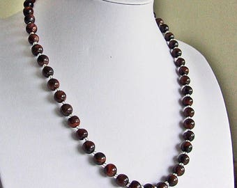 Red Tigereye Bead Necklace