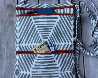 Gray and White Cross Body Purse; Crossbody Purse with iPhone Pocket & ID Pocket; iPad Mini Case; Cell Phone Purse; Sling Bag; Crossbody Bag