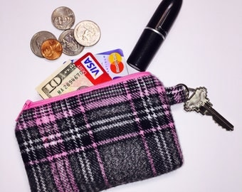 Zipper Pouch; Pink Plaid Little Zipper Pouch Wallet; Pouch Wallet; Small Wallet; Coin Purse; ID Wallet; Credit Card Wallet; Jewelry Pouch