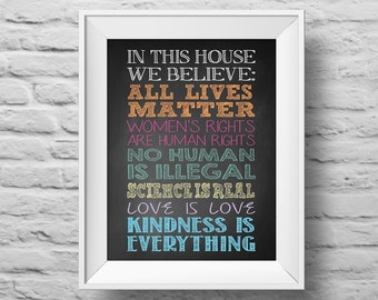 In This House...ALL LIVES MATTER unframed Typographic poster, inspirational print, anti-bully, wall decor, quote art. (R&R0153)