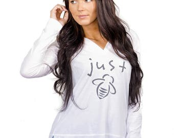Just Bee White Hoodie Small