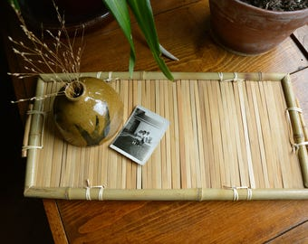 Bamboo Tray | Bamboo Wood Tray with Handles | Boho Bohemian Mid Century Tray Plant Stand | Vintage Bamboo Coffee Table Basket Tray