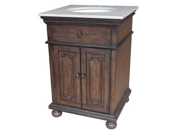 Antique wood 2 door 24 vanity sink free shipping for 24 reclaimed wood vanity