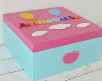 Personalized Wooden Keepsake Box Rainbow Baby Gift Baby's Firsts Boys Girls New Baby Gift Christening Gift Rainbow Decor Baby Girl Gift