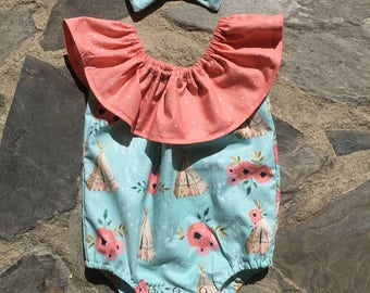 Floral and Teepee ruffled romper with matching headband