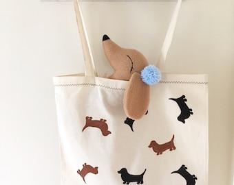 Hand painted Sausage dog tote bag or canvas cotton sack bag with sausage dog appliqué