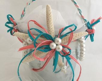 Beach Themed Wedding Pail,   Flower Girl Pail, Starfish Flower Girl Pail , Turquoise and coral Beach Themed Flower Girl Pail