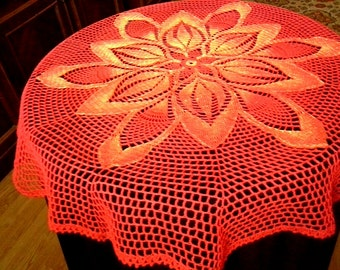 Big Red Doily Crochet Tablecloth Crochet Round Doily Hand Painted Doilies  Handmade Doilies Lace Table