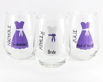Personalized Stemless Wine Glasses, Custom Wine Glasses, Personalized Wedding, Bridesmaid Gifts, Bridal Gift, Wedding Wine