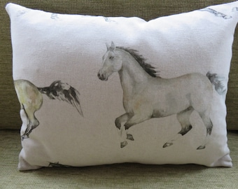 Ponies / horses linen cushion backed with charcoal velvet